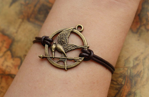 HUNGER GAMES bracelet,inspired mockingjay bracelet with retro bronze arrow,brown leather bracelet---B015