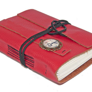 Red Leather Journal with Cameo Bookmark