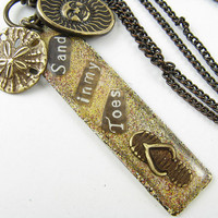 Sand in My Toes Hand Stamped and painted Necklace, Sun and Sand Dollar Charms, Brass Chain