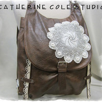 Distressed leather LOOK lace trimmed backpack handbag vintage look purse retro crochet doily and venise lace trims upcycled OOAK