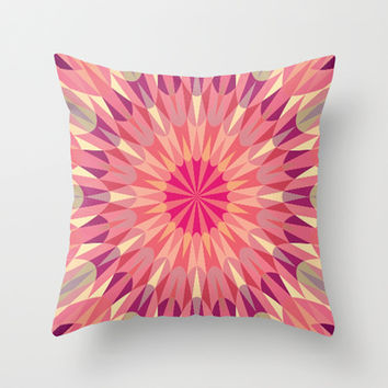 Warm Pink Retro Geometry #2 Throw Pillow by 2sweet4words Designs