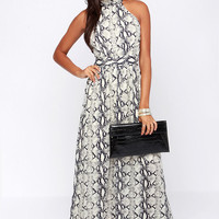 Reptilian to One Navy and Cream Print Maxi Dress