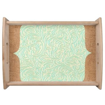 Burlap Coastal Mint Green White Vintage French
