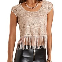 Sparkle Lace Fringe Crop Top by Charlotte Russe - Champagne