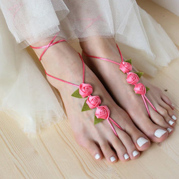 Feet decorations with Satin Roses, Rose Barefoot Sandals, Beach Wedding Sandles, Hippie Boho Nude Shoes, Flowers, Yoga Anklet Jewelry