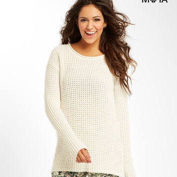 Aeropostale Double Open-Back Sweater - Cream, X-Small