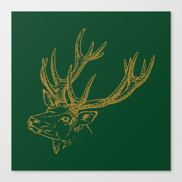 HOLIDAZE Christmas Deer Green Canvas Print by Beautiful Homes