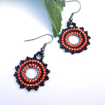 Handmade Orange and Black Earrings
