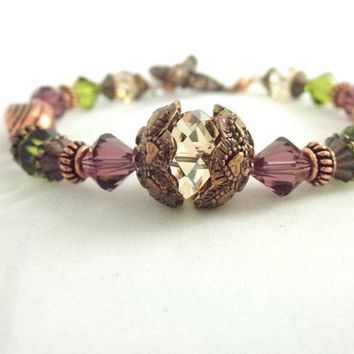 Autumn Purple, Green and Antique Copper Handmade Dainty Bracelet