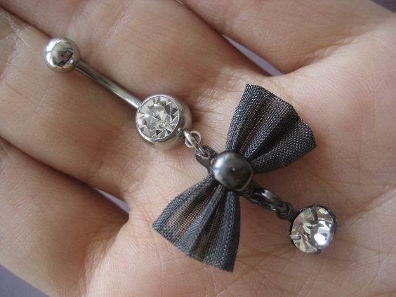bow belly button ring navel jewelry from azeeta designs
