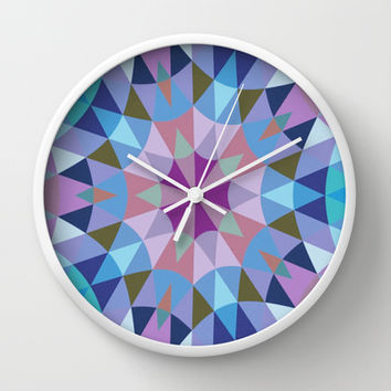 Lavender Retro Geometry Wall Clock by 2sweet4words Designs | Society6