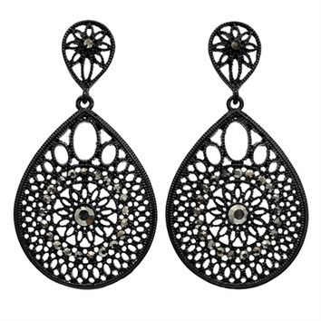 HauteChicWebstore Crystalline Antique Design Tear Drop Earring in Black at www.shophcw.com