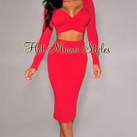 Red Textured Faux-Wrap Two Piece Set