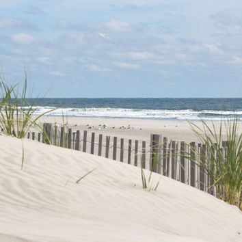 Beach Photography Sand dune ocean photo with dune grass and beach fence