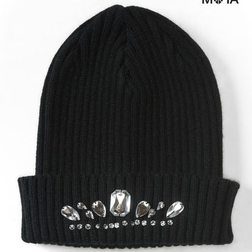 Aeropostale Faux Gem Beanie - Black, One