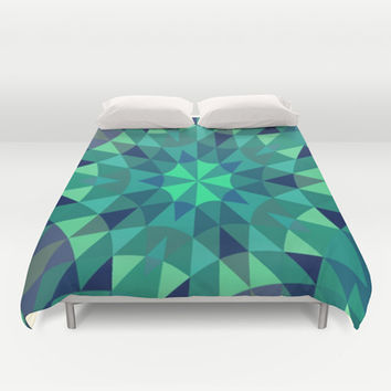 Teal Retro Geometry Duvet Cover by 2sweet4words Designs