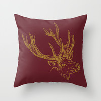 HOLIDAZE Christmas Deer Burgundy Wine Throw Pillow by Beautiful Homes