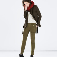 Zipped army cargo trousers