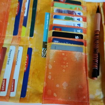 Orange and Yellow Trifold Wallet for Women, 20 card pockets, 3 full pockets, zippered pocket, ID window and more