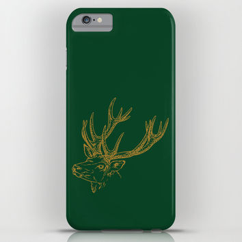 HOLIDAZE Christmas Deer Green iPhone & iPod Case by Beautiful Homes