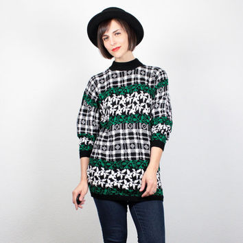Vintage 80s Sweater Black White Green New Wave Jumper 1980s Sweater Cosby Sweater Mod Abstract Print Houndstooth Plaid Pullover M L Large