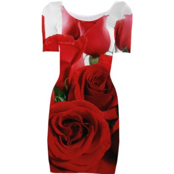 Red Roses Bodycon Dress created by ErikaKaisersot | Print All Over Me
