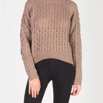 Elbow Patch Knitted Holey Sweater - Taupe /