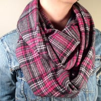Handmade Infinity Scarf Plaid Flannel - Double Layer Super Warm!  Pink, Gray and Black Tartan,Christmas Gift