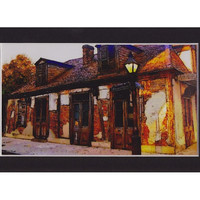 Pirate Lafitte Blacksmith Shop New Orleans ready to frame 4x6 art print  in 5x7 black acid free mat