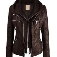 Women's 2-For-One Hooded Faux leather Jacket