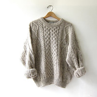 Vintage speckled oatmeal wool sweater. Fisherman's sweater. Chunky knit pullover sweater.