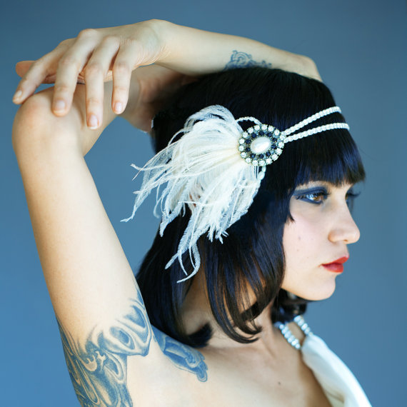 Flapper Headband, Vintage Inspired, 1920's, 1930's, Pearl, Black and White, Ivory, Fascinator, Hair piece, Bridal, Party, Feather
