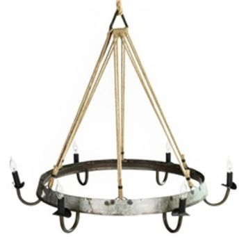 Recycled Wine Barrel Hoop with Rope Chandelier (491563557), Rustic Lighting, Chandeliers, Modern Lamps & More | bambeco
