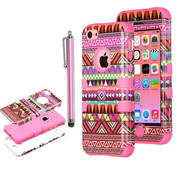Pandamimi ULAK(TM) Hybrid High Impact Tribal Soft TPU and Hard PC Case Cover for Apple iPhone 5C with Screen Protector and Stylus (Pink-3in1)