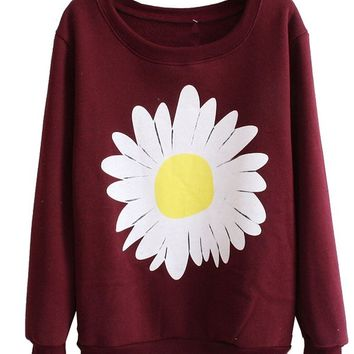 Women Girls Cute Chrysanthemum Pattern Crewnek Pullover Fleece Sweatshirt