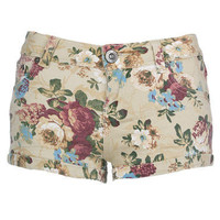 Sand Floral Denim Hotpants - Clothing - desireclothing.co.uk
