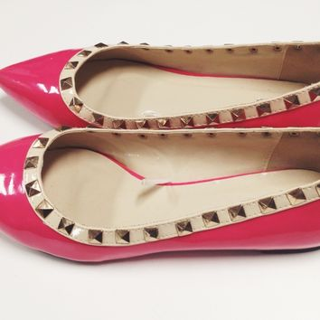 Pink Studded Pointed Flats / Levine's Boutique