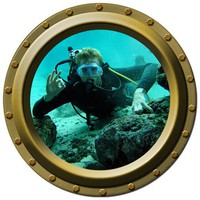 Scuba Diver Looking In Porthole Wall Decal by WilsonGraphics