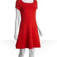 Max & Cleo persimmon stretch jersey knit Kate seamed dress | BLUEFLY up to 70 off designer brands