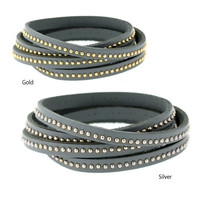 333392/333401-Grey Studded Leather Wrap Bracelet-$34.99