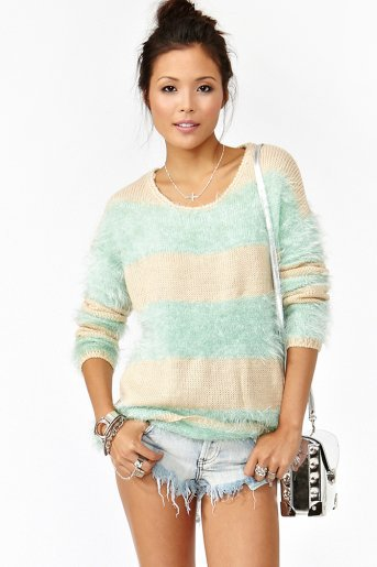 Striped Fuzz Knit