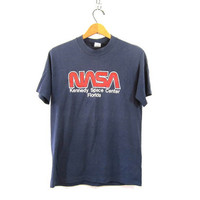 vintage NASA Kennedy Space Center Florida tshirt / blue washed out distressed tee shirt