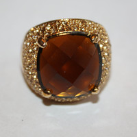 Vintage KJL Topaz Cocktail Ring Chunky Pave Rhinestone  Kenneth Jay Lane 1970s Jewelry