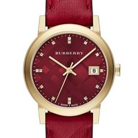 Burberry 'New Classic' Diamond Index Leather Strap Watch, 34mm