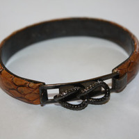 Vintage Peruzzi Italy Brown Snakeskin Stacking Bangle Bracelet 1980s Jewelry