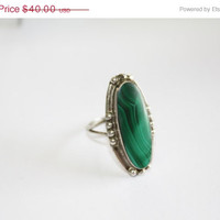 Fall Sale Malachite Sterling Mexico Ring 1960s Jewelry