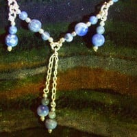 Sterling Silver Necklace with Denim Lazuli  and Handcast Silver Findings