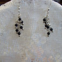 Silver and Onyx Earrings made from Hand Cast Silver and Black Onyx  Magic Jewelry