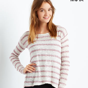 Aeropostale Long Sleeve Striped Fly-Away Back Top