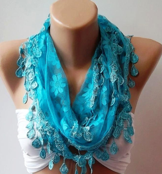 Blue -Elegance  Shawl // Scarf with Lacy Edge.